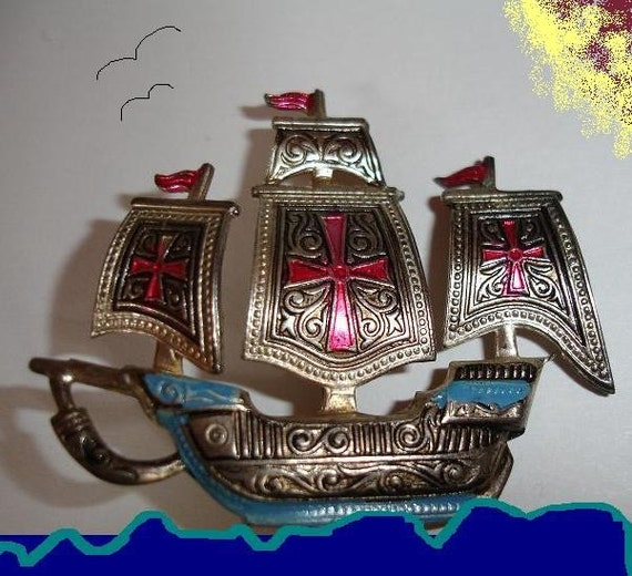 Vintage Pirate Ship Brooch Pin Made in Spain charm jewelry ahoy matteys the treasure ship has docked