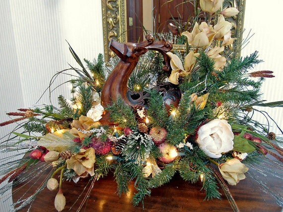 Christmas deer centerpiece by everythingfloral on etsy