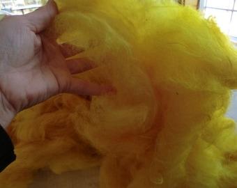 3 OZ Bag of Electric YELLOW dyed llama fleece