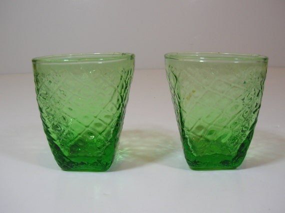 Vintage Green Glass Shot Glasses