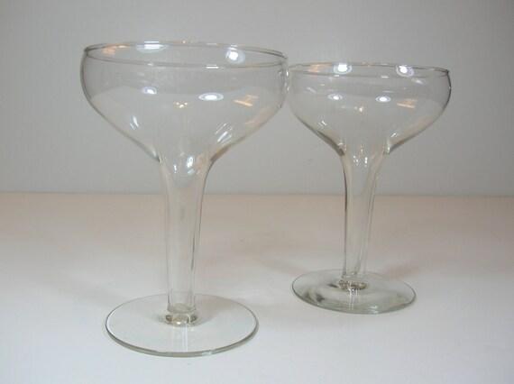 Vintage pair hollow stemmed champagne glasses - Hollow stem champagne glasses ...