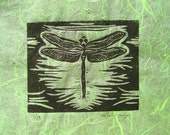 Dragonfly (Black on Green or Black and White) - Original Linocut Print