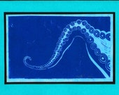 5 Octopus Arm Notecards (Blue on Turquoise or Red on Turquoise)