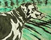 Labrador Retriever (Black, Yellow or Chocolate) - Original Linocut