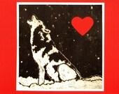 Reserved 1 Handmade Wolf Valentine's Day Card