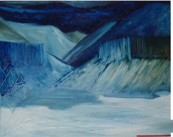 Reservior in Winter I - Original Oil Painting