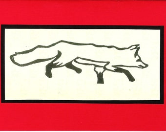 5 Running Fox Notecards (Red or Turquoise)