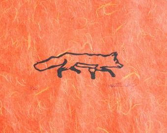 Running Fox (Orange or White) - Original Linocut Print