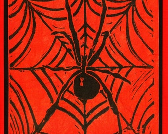 5 Spider Notecards on Red