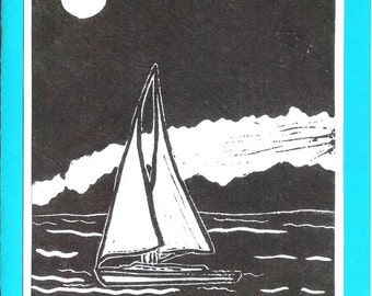 5 Sailboat Notecards (Turquoise or Red)