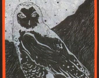 5 Snowy Owl Halloween Notecards on Black