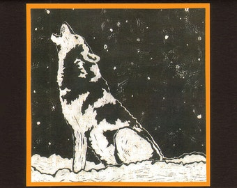 5 Wolf Halloween Notecards on Black