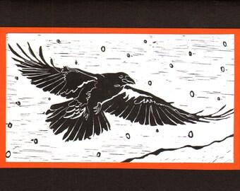 5 Raven Halloween Notecards on Black