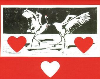 5 Handmade Dancing Cranes Valentine's Day Cards