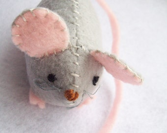 Small mouse stuffed animal - grey / gray- many other colors to choose from
