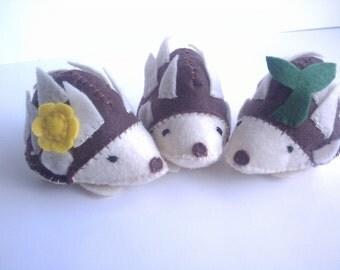 Hedgehog or porcupine small stuffed animal toy