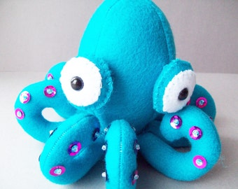 Octopus stuffed animal - Teal with purple