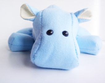 Hippo stuffed animal- baby blue and cream