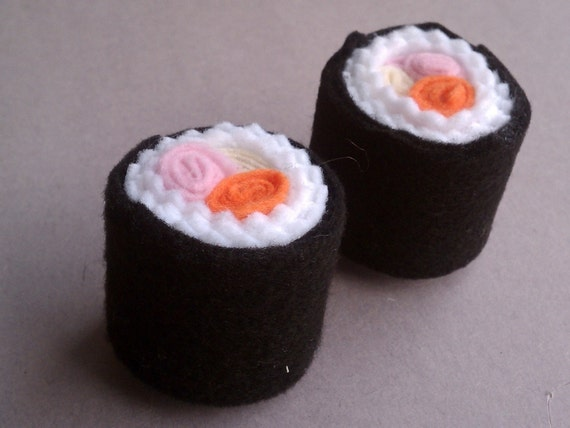 Two raw fish sushi roll felt toys for Is sushi raw fish