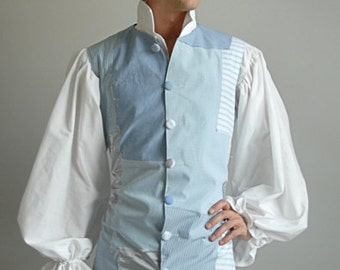 Harlequin Patchwork Vest, Light Blue OOAK  - Medium