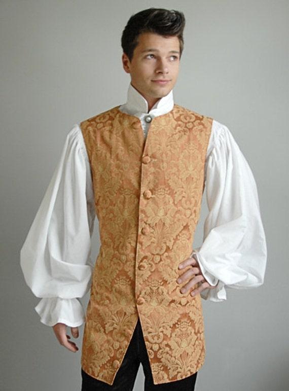 18th Century Vest, Rust Red and  Light Brown - Medium