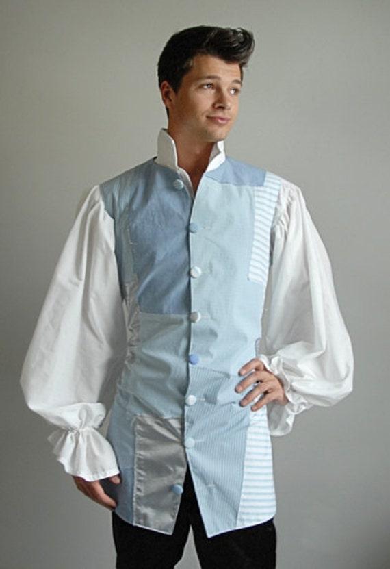 Harlequin Patchwork Vest, Light Blue OOAK  - Medium