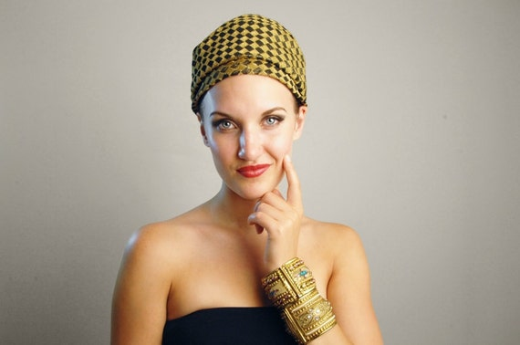 Turban Hat - Gold and Black Checkered by Darcel