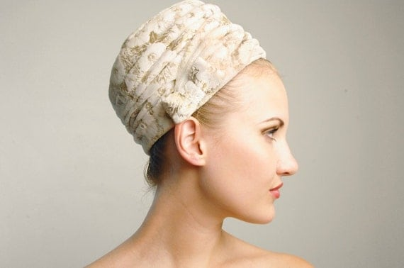 White Velvet Turban Hat With Metallic Gold Floral Motif by Mr. John