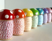 BIG Toadstool Spool. With Stripey Twine. Single. Choice of Color.