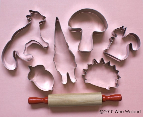 Forest Friends. Cookie Cutter set. with rolling pin.