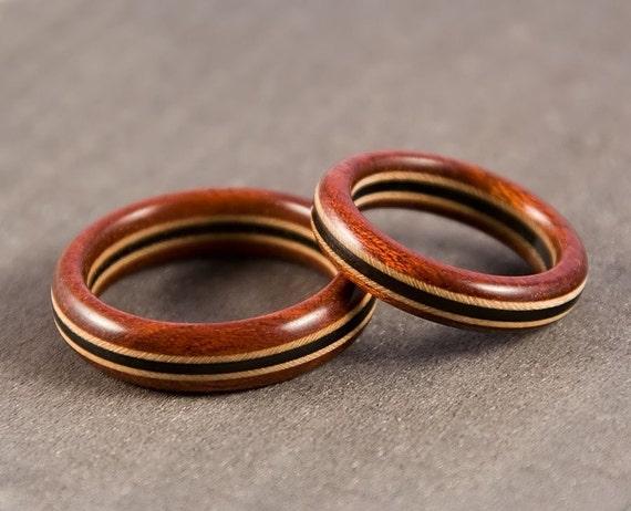 Wood Ring Set - Bloodwood Maple Ebony - Wedding Ring Set