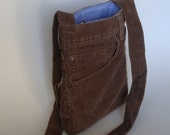 Reserved listing: The UP-POCKETS BROWN bag made from upcycled Levi's corduroy pants by ejhern