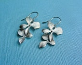 Silver Orchid Dangle Earrings -  gift, wife, birthday, mother, sister, daughter, bridesmaid, romantic