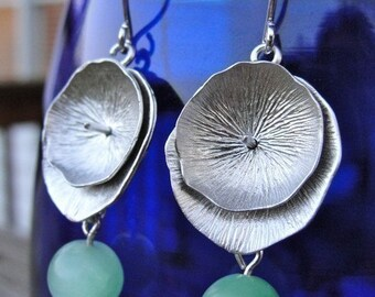 Silver Lotus Leaf Earrings in Green - Spring, mother, birthday, wife,  sister, daughter, bridesmaid, anniversary