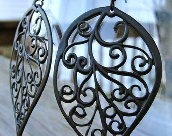 Black Curly Leaf Earrings - lowcountry garden gate motif, gift, Christmas, romantic, mother, birthday, wife, daughter, sister, friend