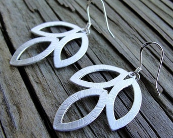 Silver Leaf Trio Earrings - sterling silver ear wires -  gift, birthday, wife, mother, sister, daughter, career, graduation