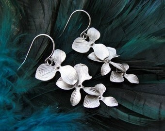 Silver Orchid Trio Earrings - delicate cascade - gift, sterling silver, Christmas, birthday, romantic, wife, mother, sister, friend, bridesm