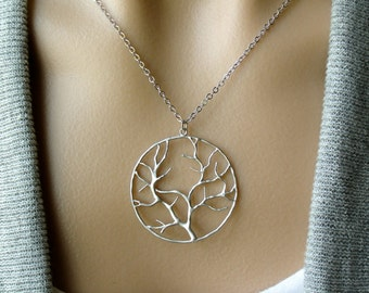 Silver Round Tree Necklace - gift, Christmas, friendship, tree of life, mother, wife, sister, friend, birthday, graduation, daughter