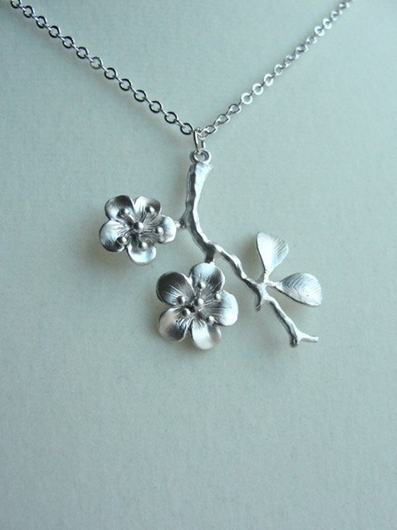 Silver Cherry Blossom Branch Necklace