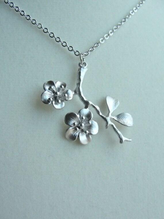 silver cherry blossom branch necklace birthday anniversary