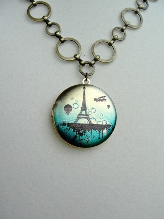 Skies over Paris Locket Necklace -  gift, birthday, mother, sister, wife, daughter, friendship, anniversary