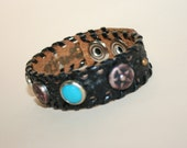 RESERVED Vintage Leather & Distressed Studded Cuff Bracelet, s-m
