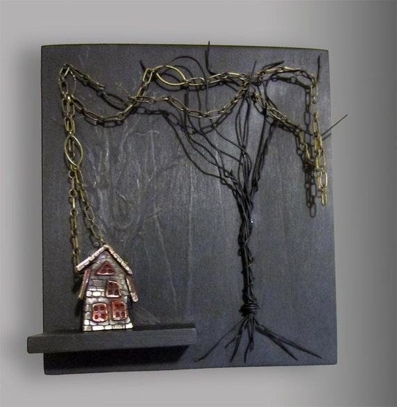 Old Tea House pendant/wall art/jewelry display