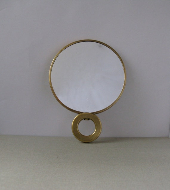 Vintage Brass Double Sided Hand Held Mirror