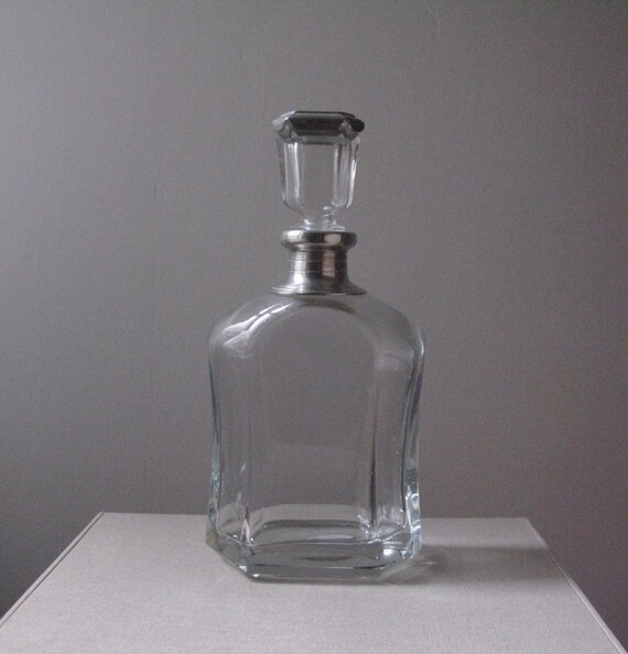 Vintage Glass and Pewter Decanter