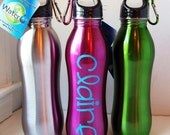 Custom Listing ... 3 BPA FREE Personalized Stainless Steel Water Bottle with Carabiner  .. Great Party Favors, Gifts, Etc