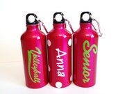 Personalized Hot Pink BPA Free Aluminum Water Bottle