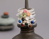 Tiny Stone Stacking Ring in Textured Sterling Silver - Your Choice of Band and 4mm Gem Stone