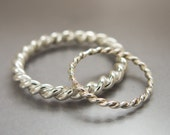 Twist Wedding Ring Set in Sterling Silver, 1.6 and 3mm wide - available in gold by special request