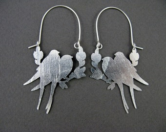 Stirling Silver Love Bird Earrings - Ready to Ship